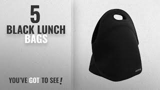 Best Black Lunch Bags [2018]: Hippih Insulated Waterproof Durable Neoprene Lunch Tote Bag ,Black