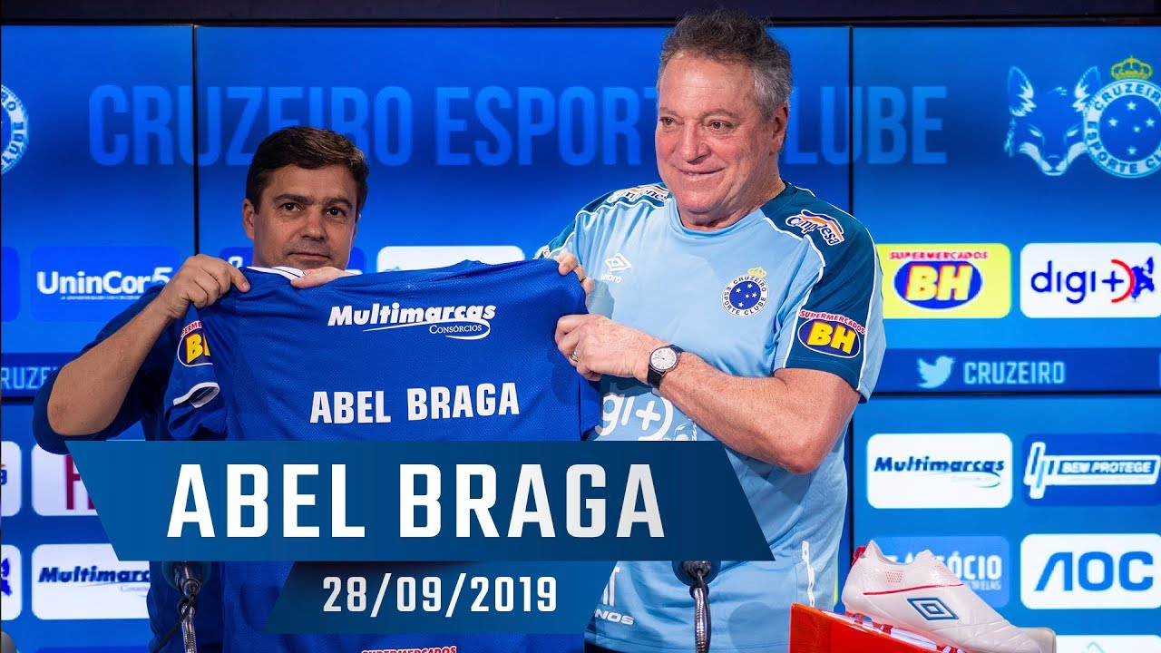 28 09 2019 Apresentacao Do Novo Tecnico Do Cruzeiro Abel Braga Youtube