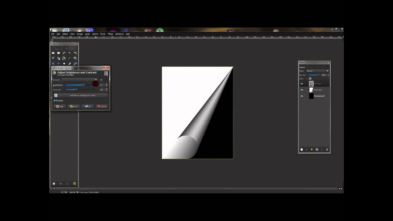 Page Curl Effect In Gimp