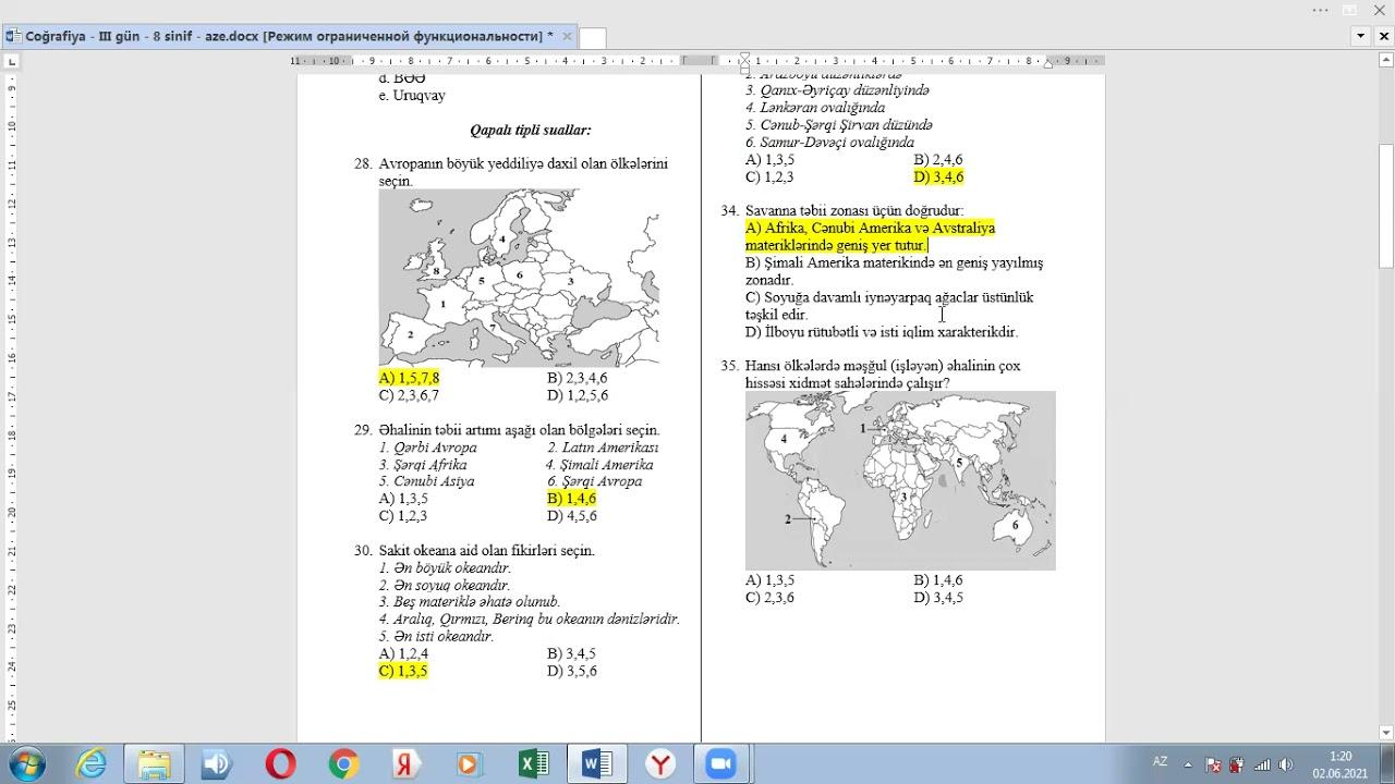 KİMYA 8-Cİ SİNİF KSQ 2(CAVABLARLA)