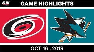 NHL Highlights | Hurricanes vs Sharks – Oct 16 2019