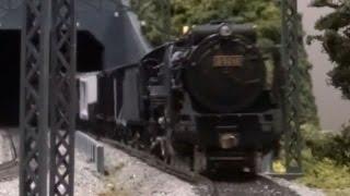 HOゲージ、蒸気機関車、D52型+貨物列車、走行動画