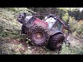 Valtra forestry tractor logging on steep slopes, slippery uphill, difficult conditions