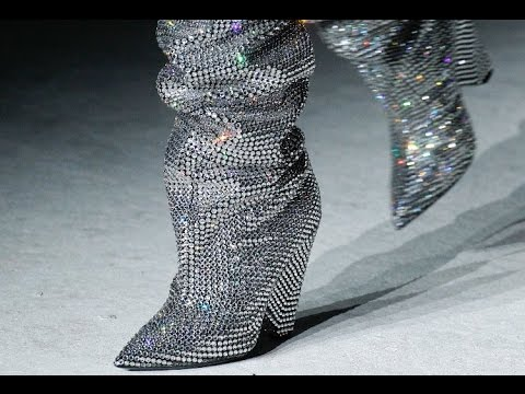 Saint Laurent's Amazing Swarovski Crystal Slouch Boots Fall 2017