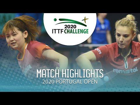 Maki Shiomi Vs Adina Diaconu   2020 ITTF Portugal Open Highlights (U21 1/2)