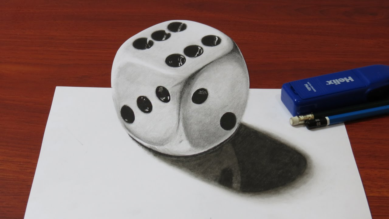 How to Draw a Realistic 3D Dice - YouTube