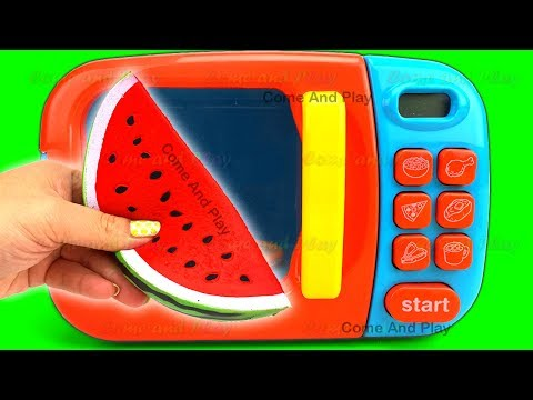 Thumbnail: Learn Colors Microwave Squishy Fruits Cutting Slime Play Foam Surprise Toys Disney TMNT Toy Story