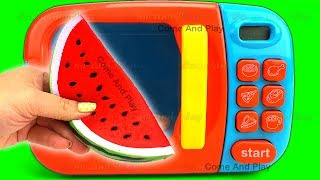 Learn Colors Microwave Squishy Fruits Cutting Slime Play Foam Surprise Toys Disney TMNT Toy Story