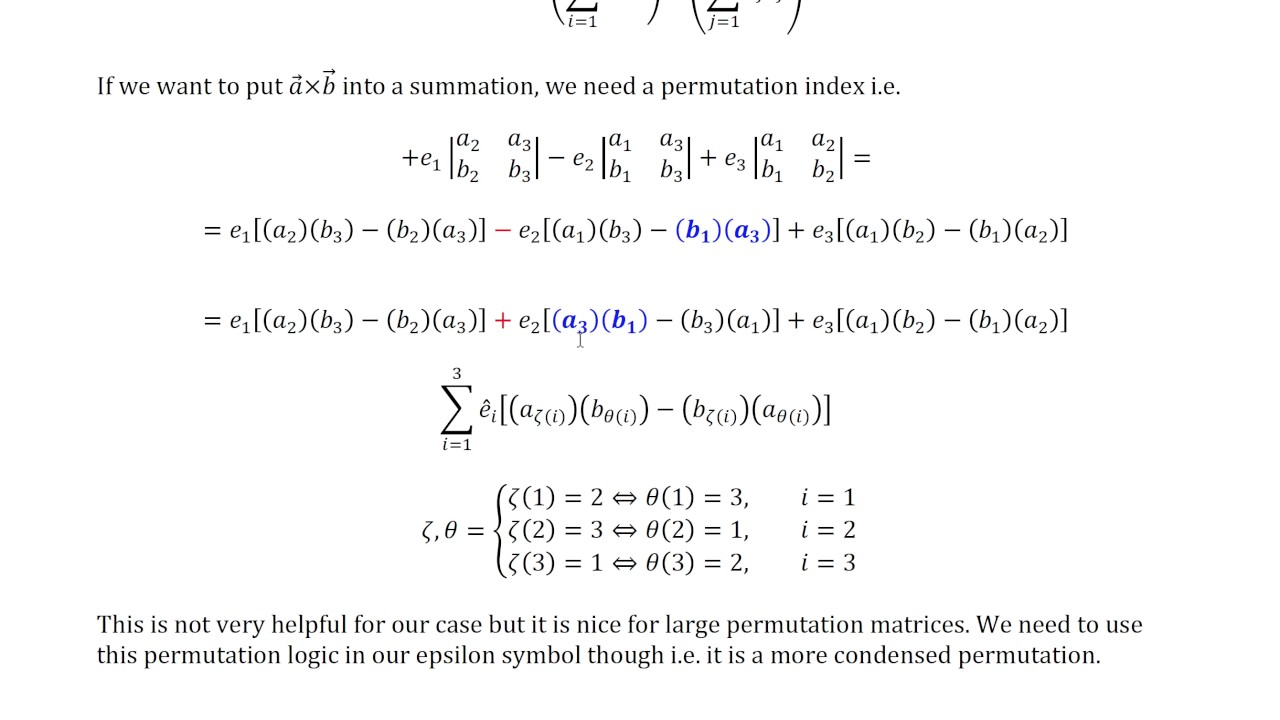 The Cross Product Summation Index Notation With Permutations Youtube