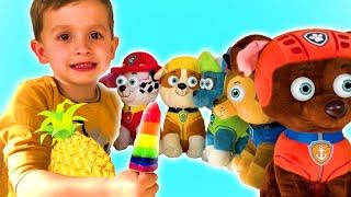 Радужное мороженое с Щенячим Патрулем| Rainbow fruit popsicles with Paw Patrol