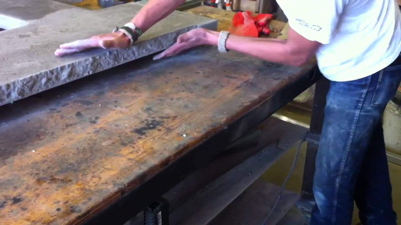 Diamond Sanding Strip On Coral Reef Concrete Counter Edge