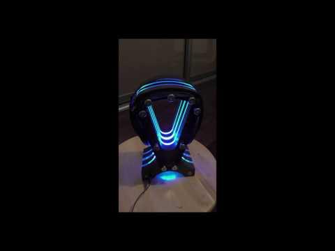 0052 Headphone stand hardwood acrylic RGB LED Lights Remote Control
