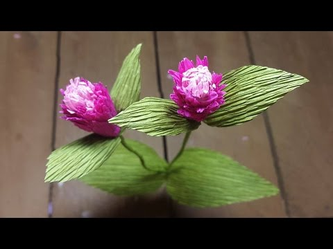 How to Make Globe Amaranth Paper flowers - Flower Making of Crepe Paper - Paper Flower Tutorial