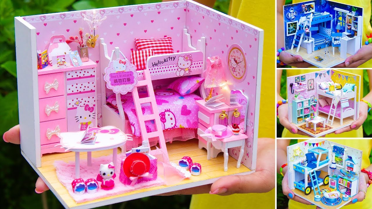 5 Diy Miniature Doll House Bunk Bed Rooms Youtube