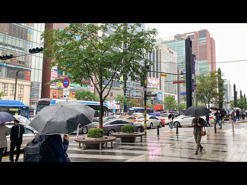 [4K] Rainy Friday Walks 7 Km Around Gangnam Seoul Korea Ambience City Sound 비오는 금요일 서울 강남 7킬로 미터를 걷다