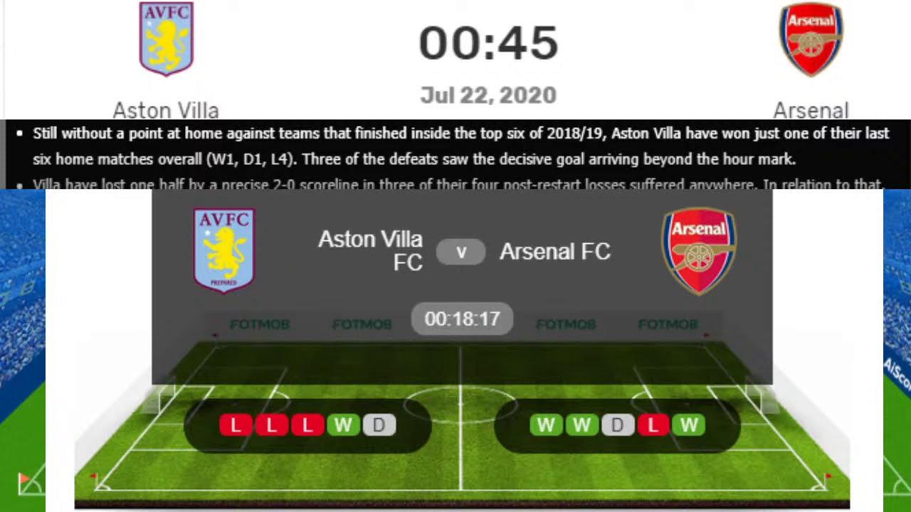 Arsenal vs Aston Villa Live, Premier League Aston Villa vs Arsenal Live Streaming - YouTube