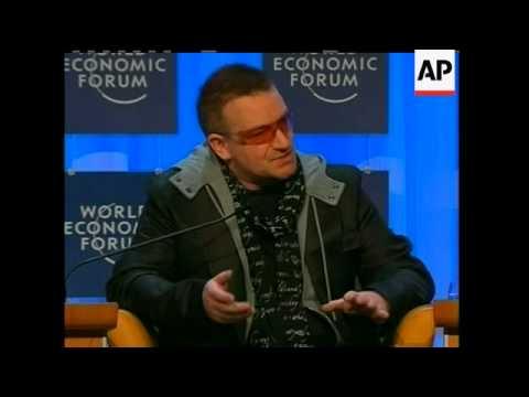 Former Vice-President Al Gore and Irish rock singer Bono addressed the World Economic Forum on Thurs