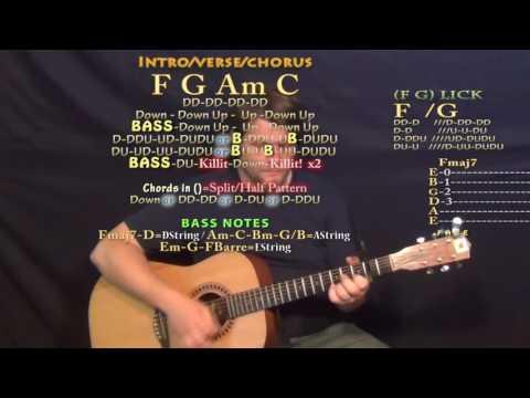 Alone (Marshmello) Guitar Lesson Chord Chart - Capo 2nd Fret - F G Am C