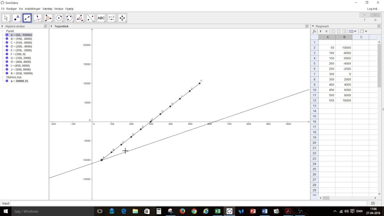Finde funktionsforskrift lineær funktion