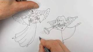 How to draw Christmas Angels