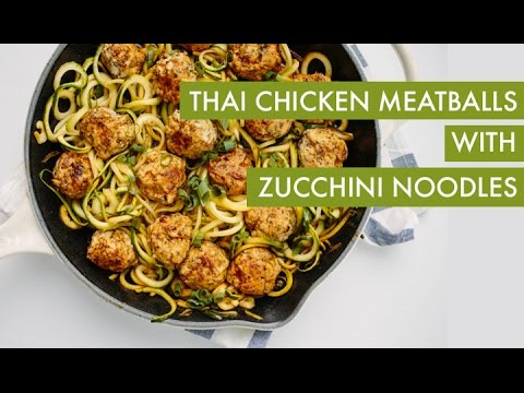 Zucchini noodles with thai chicken meatballs i spiralizer for Zucchini noodles and meatballs recipe