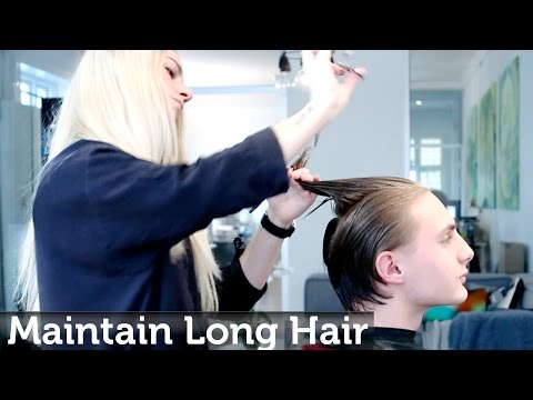 Maintaining men's long hair while growing it out