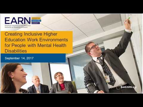 Creating Inclusive Higher Education Work Environments for People with Mental Health Disabilities