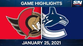 NHL Game Highlights   Senators vs. Canucks - Jan. 25, 2021