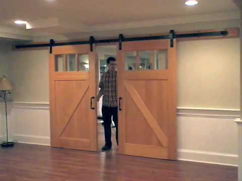 Interior flat track sliding barn door hardware youtube - How to install an exterior sliding barn door ...