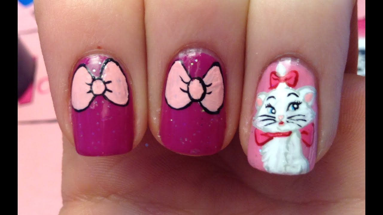 Marie The Cat Aristocats Nail Art Tutorial (REQUEST) - YouTube