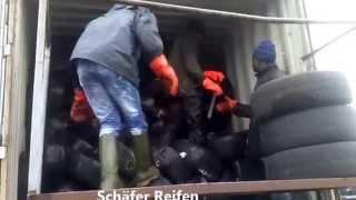 Container laden loading Gebrauchtreifen Used Tires Afrika Export Benin Germany