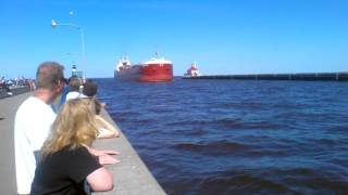 Three Ships Entering Duluth Harbor