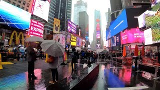 ⁴ᴷ⁶⁰ Walking NYC in the Rain & Wind: Broadway from Times Square to 34th Street