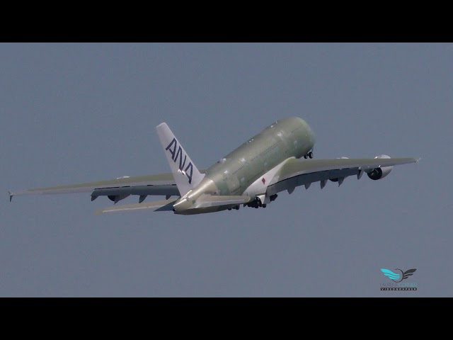 First flight of first of three Airbus A380