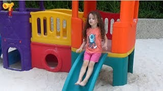 Ulyana Plays With Playhouse for Kids on Outdoor Playground