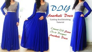 DIY Anarkali Dress Cutting And Stitching Tutorial,Convert Saree into Anarkali Dress\Kurti