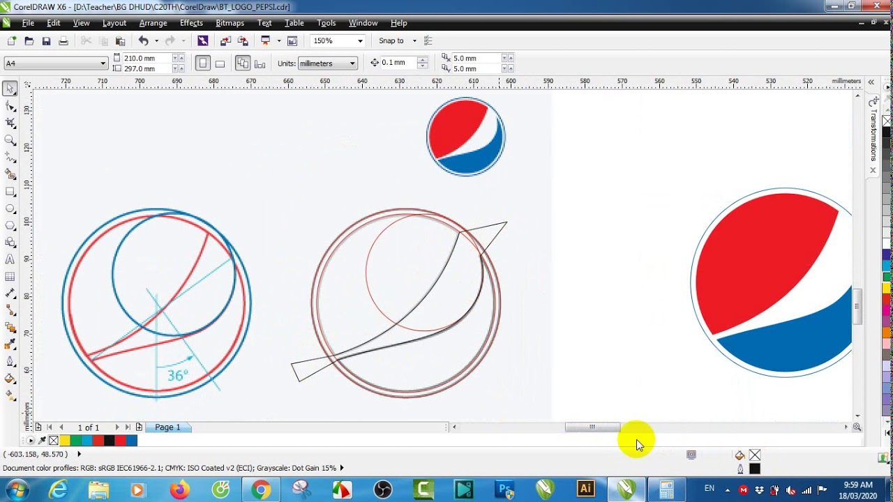 Hướng dẫn ôn tập CorelDraw X6 – Buổi 7 (Vẽ logo theo tỉ lệ vàng – Golden ratio)