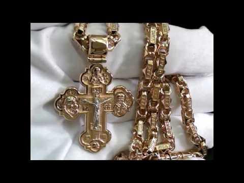 Эксклюзивная ювелирная работа крест из двухцветного золота и цепочка плетения Краб