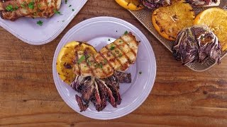 Carla Hall's Spicy Brick Chicken with Grilled Radicchio and Oranges