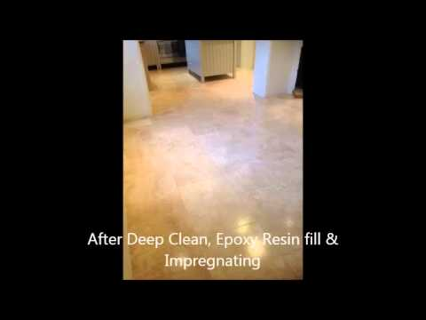 Travertine stone floor deep clean, Epoxy resin fill  &Impregnate Chippenham Wiltshire