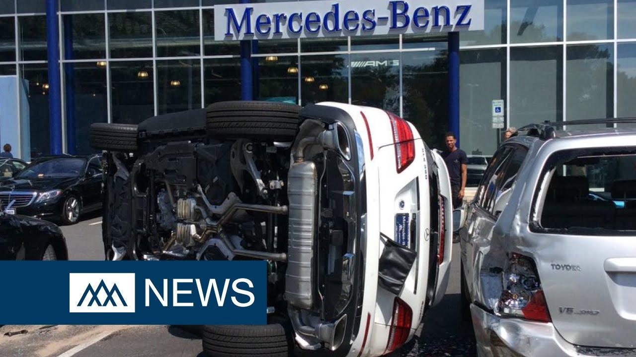 Woman Test Driving Mercedes Benz Flips Car Leaving Parking