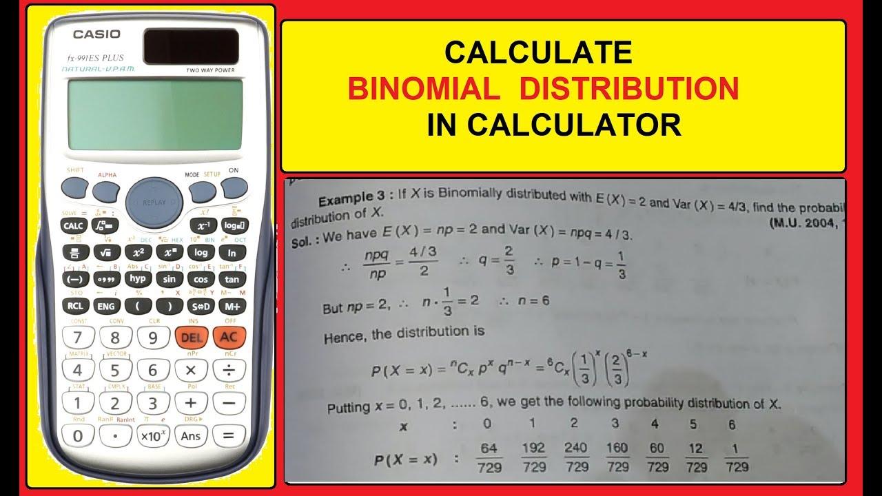 Binomial Distribution in Calculator | Hindi