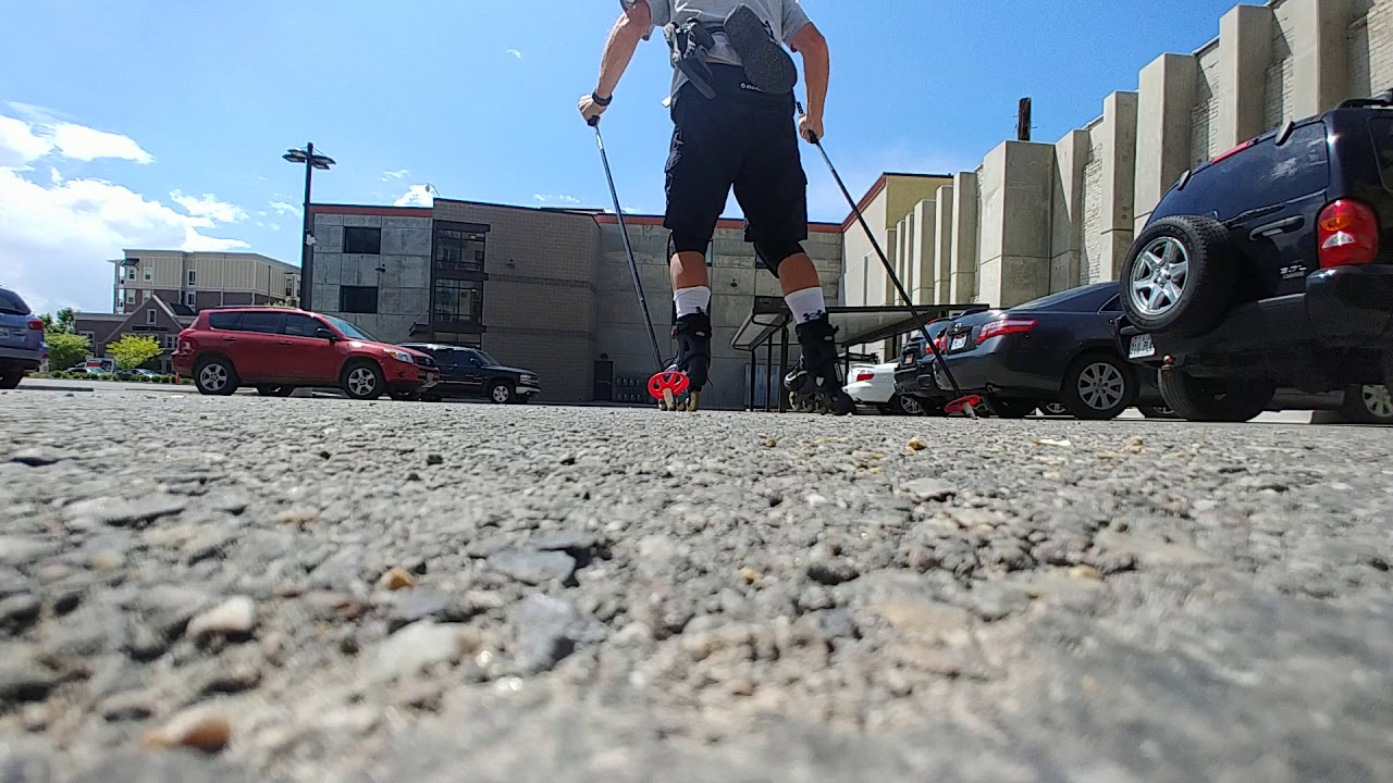 Rollerblade Skiing in Parking Lot