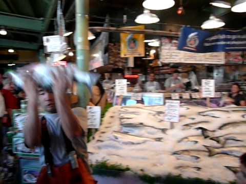 Flying fish at pike place market seattle youtube for Flying fish seattle