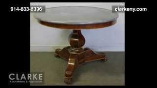 Antique Furniture | Beautiful 19th Century Marbletop Mahogany Table. | From A White Plains Ny Home
