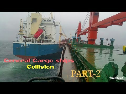 General Cargo ships Collision due to Anchor Dragging in Rough Sea - PART-2 (Collision at Anchorage)