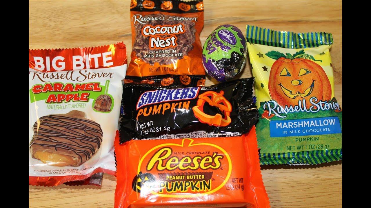 halloween chocolates taste test: russell stover, cadbury, reese's