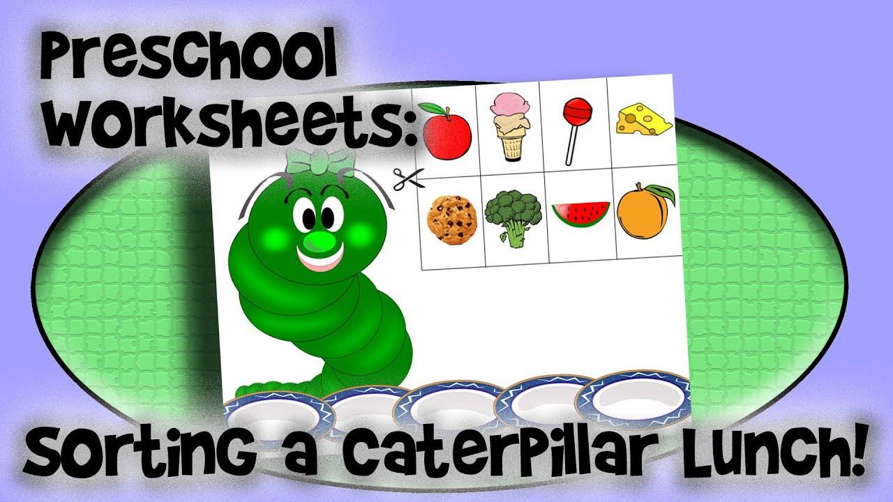 Preschool Worksheet Sorting A Caterpillar Lunch