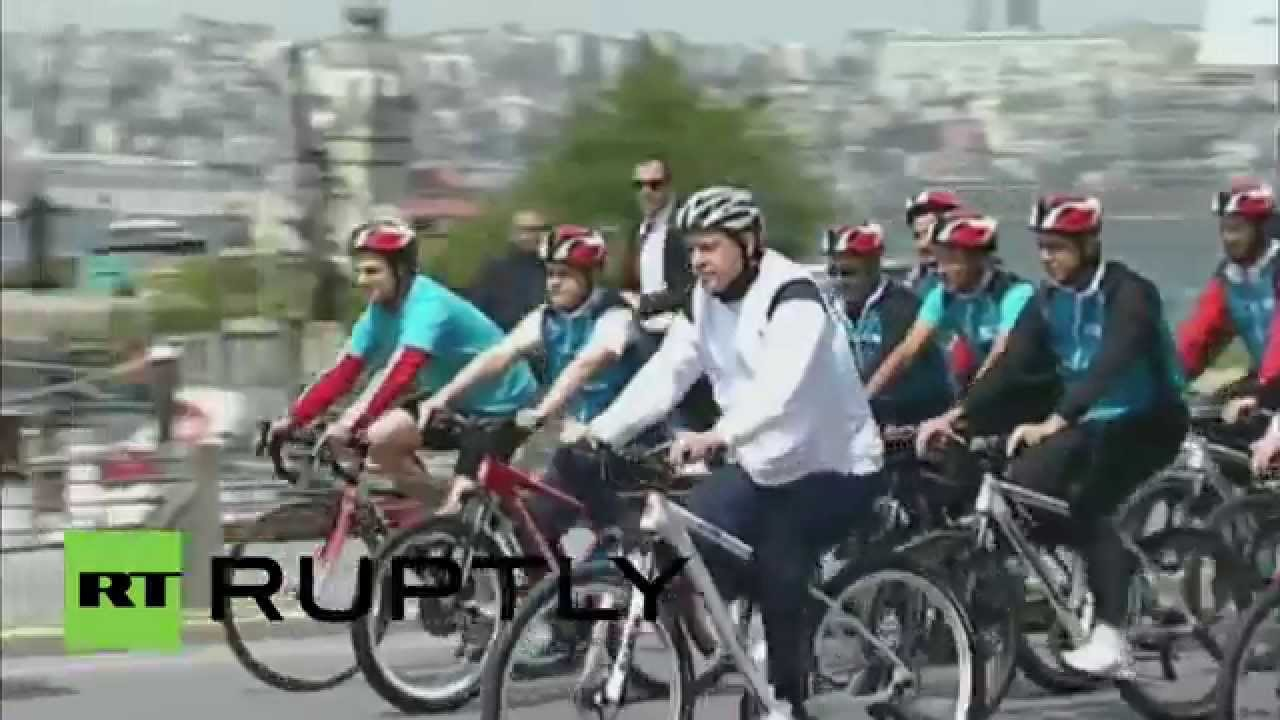 Turkey: Erdogan rides bike to promote cycling for better ...