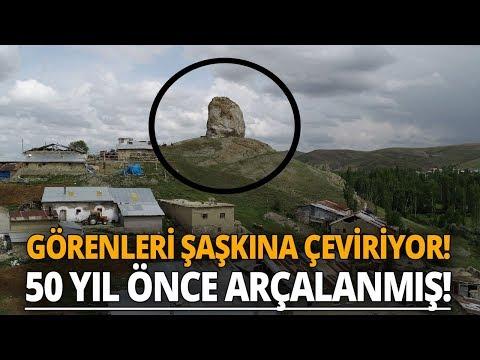 Sivas'ta Görenlerin İlgisini Çeken Dev Kaya Havadan Görüntülendi